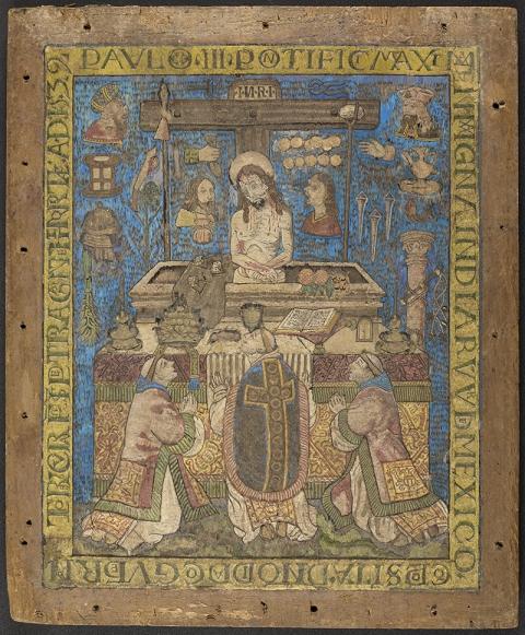 Oui, toute la couleur, c'est de la plume ! Mosaïque de plumes sur bois (Mexique, 1539), © RMN - Grand Palais - Benoit Touchard, © Musée des Jacobins - Auch Photographe : Pierre de Gand