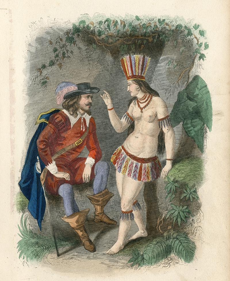 L'amour courtois sait aussi se parer d'exotisme... Gravure de Hernan Cortes et Dona Marina (XIXe siècle), © Musée des Jacobins - Auch