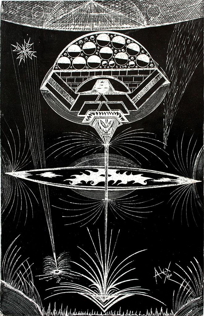 Este se llama : La copa cosmica, 2007. encre noire sur carton, 36 x 23 cm - - copyright Galerie Christian Berst