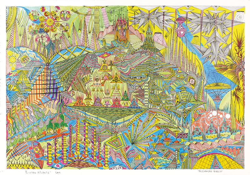 Ciudad Atlante, 2011. rotring, feutre et crayon de couleur sur papier, 34.8 x 49.6 cm
