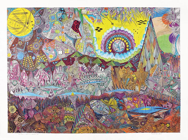Las Trece Puetas del Corazon, 2011. rotring stylo à bille, marqueur et crayon de couleur sur papier, 55 x 75 cm - copyright Galerie Christian Berst