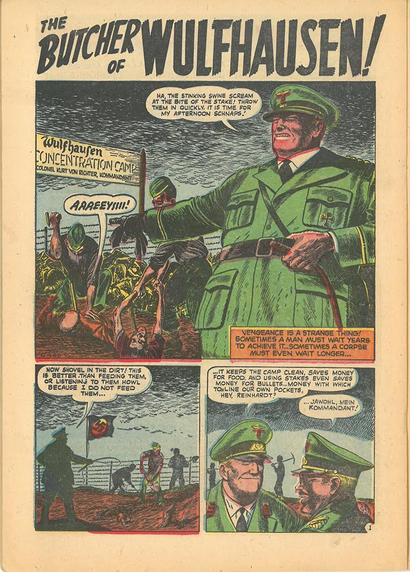 "Kent Blake of the Secret Service # 14 : ""The Butcher of Wulfhausen"", de Sam Kweskin (dessin et encre), Marvel, 1953, Collection particulière de Steven M. Bergson Sequential Art Judaica Collection (Toronto, Canada)."