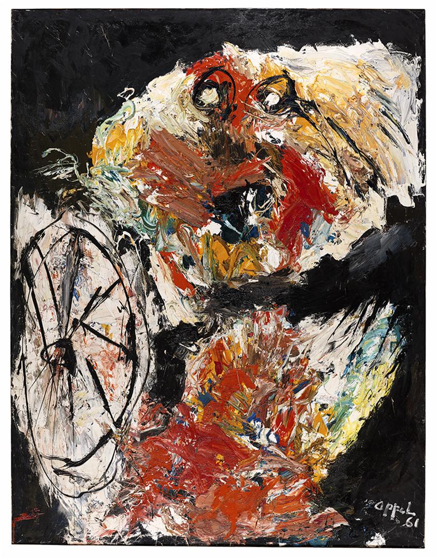 Karel Appel, Enfant en flammes avec un cerceau, 1961 Huile sur toile, 300 x 230 cm, Musée d'Art moderne de la Ville de Paris, © Karel Appel Foundation / ADAGP, Paris 2017