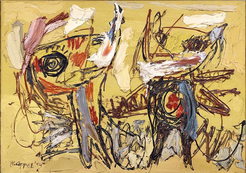 Karel Appel, Danseurs du désert, 1954, Huile sur toile, 117 x 166 cm, Musée d'Art moderne de la Ville de Paris, © Karel Appel Foundation / ADAGP, Paris 2017