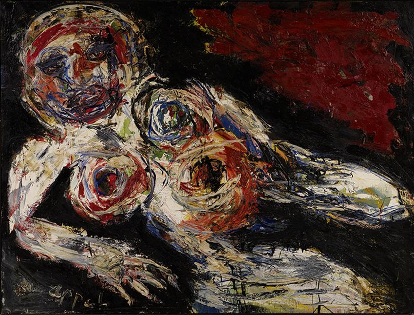 Karel Appel, Nu blessé, 1959, Huile sur toile, 183 x 243 cm, Musée d'Art moderne de la Ville de Paris, © Karel Appel Foundation / ADAGP, Paris 2017